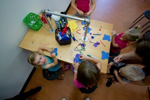 Activities being done at the Maker Tables in the Art Studio of Children's Museum Tucson