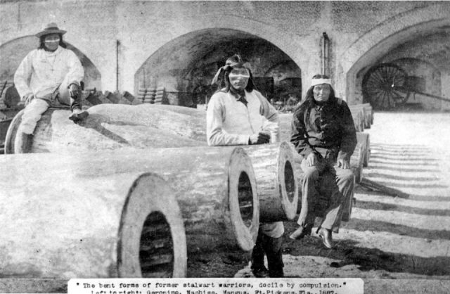 Prisoners-of-War at Fort Pickens, Florida. Geronimo (left), Chief Naiche (center), Mangas (right)