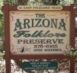 Arizona Folklore Preserve sign.