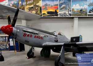 """P-51 Mustang """"Bad Angel"""" in Hanger #4 at the Pima Air and Space Museum."""