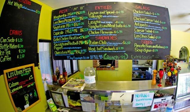 Los Olivos Pizzeria Menu Board