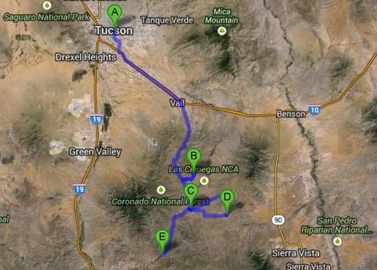 Map Tucson To Patagonia