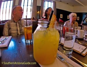 My mimosa in a Mason Jar at Agustin Kitchen.