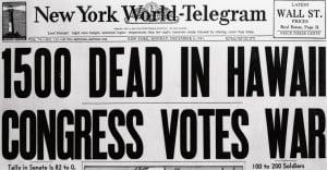 Newpaper headline December 8, 1941