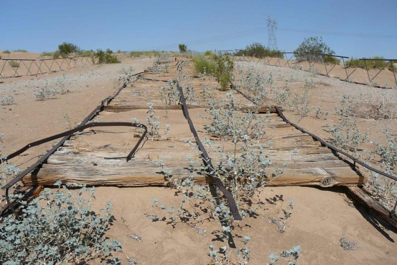 Near Yuma Az A Plank Road Across The Sand Dunes