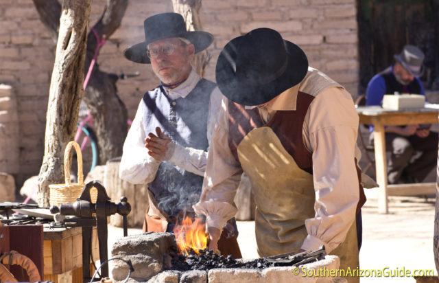 Blacksmith demonstration at El Presidio del Tucson.
