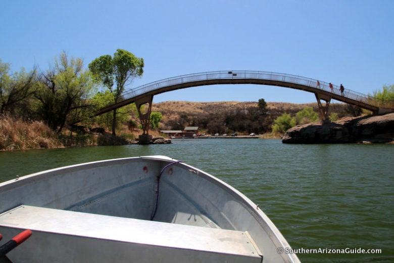 Patagonia Lake Bridge from water