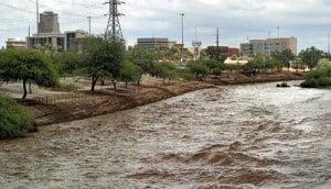 Santa Cruz River near flood stage: 2006.