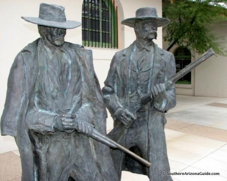 Statues of Wyatt Earp & Doc Holliday at the Tucson Train Depot near where Wyatt killed Frank Stilwell.