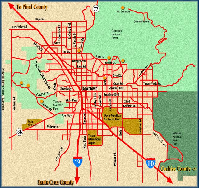 Tucson Map Southernarizonaguide Com