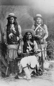 White Mountain Apache Scouts poising for picture circa 1880
